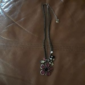 Betsy Johnson flower and charm necklace